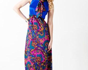 75% off dress sale!  Paisley and Royal Silk Maxi Dress, custom designed print, made in NYC, Bohemian glamour, boho chic
