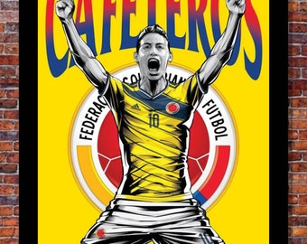 World Cup Soccer | TEAM COLOMBIA Poster | 13 x 19 inches