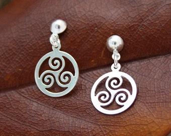Sterling Silver Circular Celtic Triskelion Earrings TRK023