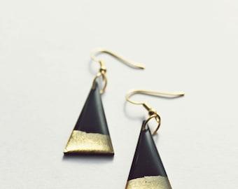 minimal earrings unique earrings simple earrings triangle earrings geometric dangle earrings black and gold earrings minimalist jewelry