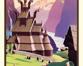 Norway Poster, Land of the Midnight Sun, Norge, Scandinavian Travel Poster, Scandinavia