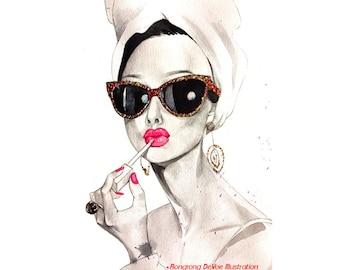 Audrey Hepburn art print, Fashion illustration, Celebertiy portrait, Classice icon art print, Wall art, dessing room art