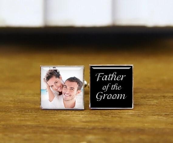 father of the groom cuff links, custom wedding cufflinks, personalized cufflinks, custom date photo cufflinks, square cufflinks, team groom