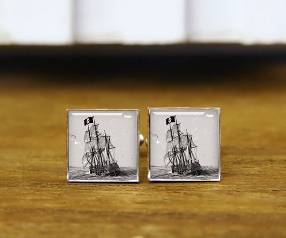 pirate, corsair cufflinks, custom square cufflinks, vintage cuff links, pirate ship cufflinks, tie clip, navigation cufflinks, sailing gifts