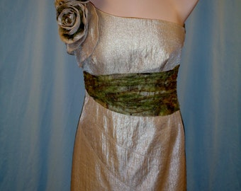 Short Gold formal dress with accents of camo netting