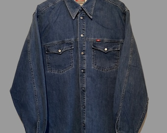 Vintage Long Sleeve Denim Shirt (L) Mustang