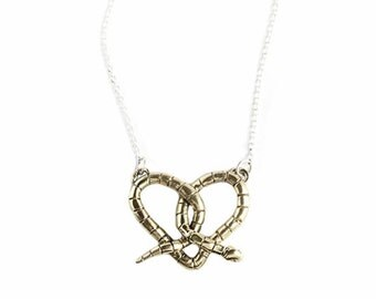 Love Snake Heart Necklace -Stripe Brass Snake Pendant -Unique Gift for her Nature Inspired Silver Everyday Animal Jewelry Pretzel Tiny Wild