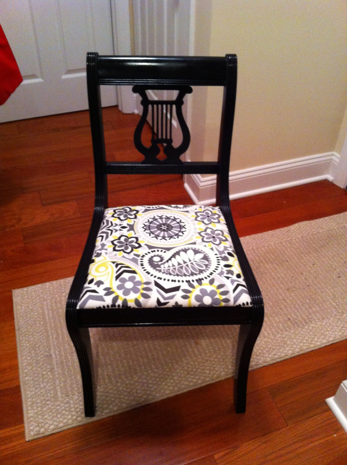 Vintage Lyre Back Accent Chair Black Gloss