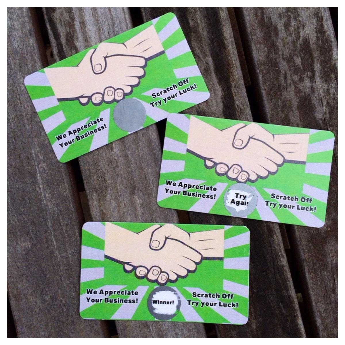 We appreciate your business scratch off game card for We appreciate your business cards