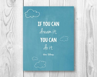 If you can dream it you can do it.Color. 8x10 Custom Print Home Decor Wall Art Typography Home Decor Printable Digital Instant Download