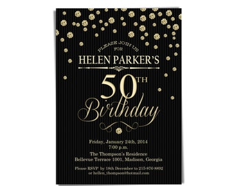 50th Birthday Party Invitation / Gold Black / 30th / 40th / 60th / 70th / 80th / 90th / Any Age / Digital Printable Invitation