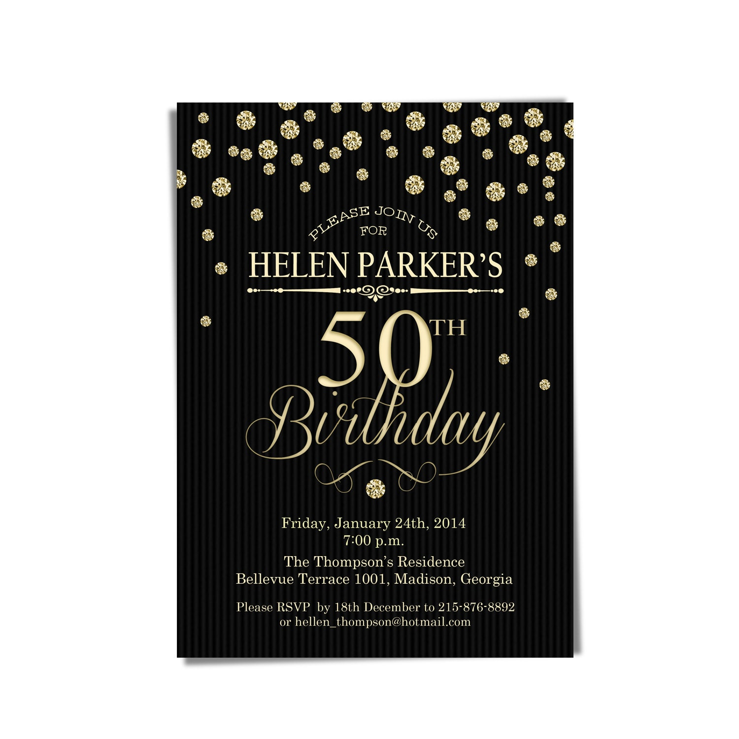 50th Birthday Party Invitation / Gold Black / 30th / 40th