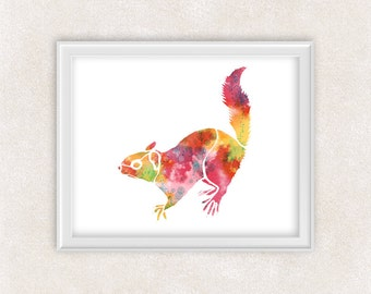 Squirrel Art - Watercolor Print - Woodland Animal Artwork - Childrens Wall Art - Home Decor 8x10 PRINT - Item #700B