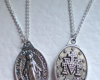 Silver Virgin Mary Reversible Christian Virgin Mary Necklace Silver Necklace