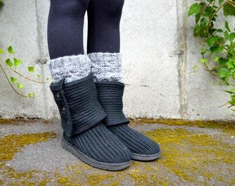 Boot Cuff Socks, Leg Warmers for Women, Boot Socks for Women, / THE  ALSEAS / stone gray