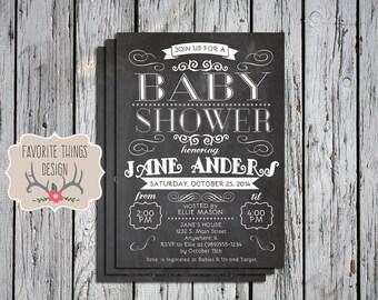 Baby Shower Invitation, Chalkboard Baby Shower Invite, Vintage, Girls, Boys, Neutral, Digital File, Printable
