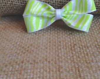 Zebra Hair Bow- Green and White