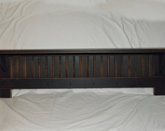 """48"""" Black Wall Shelf Distressed Primitive Country Rustic Shaker"""
