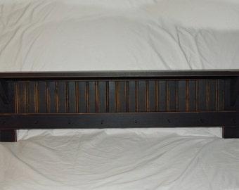 "Handmade 38"" Black-Primitive-Country-Rustic-Shaker-Wall-Shelf-Distressed"