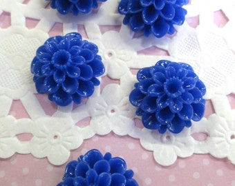 Blue  21mm Mum Flower Cabochons, Lovely Chrysanthemum Cabs