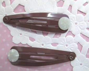 Brown Snap Hair Clip Barrettes With a Glue On Pad, You Choose Your Amount, C245