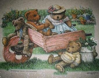 Bear Family GARDEN Flower Cart Spring Gardening Country~ Tan Glimmer Fabric Quilt Panel