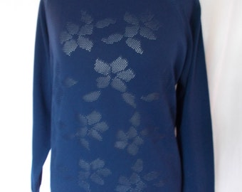 Vintage 60s St Joan navy floral jumper size medium