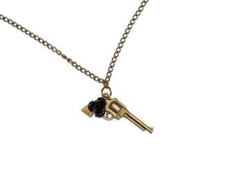 Black Rose Pistol Necklace - 18 Inch Chain - Bronze Toned Revolver - Gun Jewelry - Rockabilly Psychobilly Hardcore Style - Guns Roses