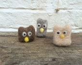 Miniature needle felted owl brown / fawn / grey / white