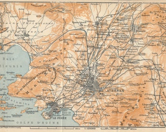 1911 Antique Map, Athens Greece