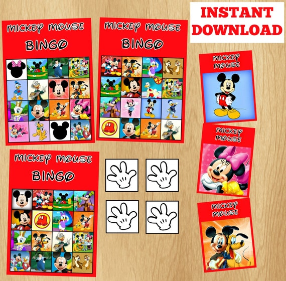 14 Bingo Cards Mickey Mouse Bingo Game Set By Kidspartypixel