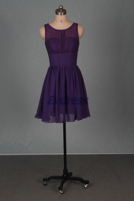 Short eggplant bridesmaid dresses2016 chiffon lace women for Short cheap wedding dresses under 100