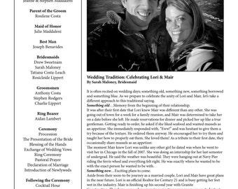 Wedding Program Wedding Newspaper (Can also be for a Bridal Shower, Birthday, Anniversary, etc.)