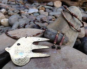 Eclectic Recycled Copper Fork Jewelry Set
