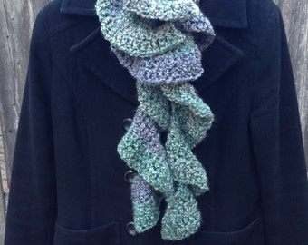 Short Curly Scarf - 100% Handmade Crochet, Women's Scarf, Color - Regency