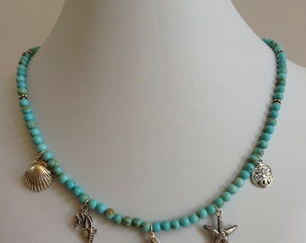 Turquoise necklace with sterling silver sea shells