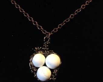 Howlite Birds Nest Necklace