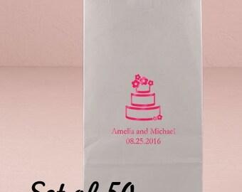 Personalized Cake Bag - Party Favor Bag - Wedding Favor - Birthday - Self Standing Favor Bag - Set of 50 - Colored Paper Bag