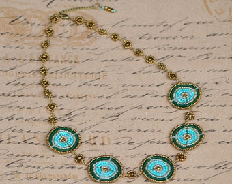 Turquoise, teal and gold Maasai bead-work necklace