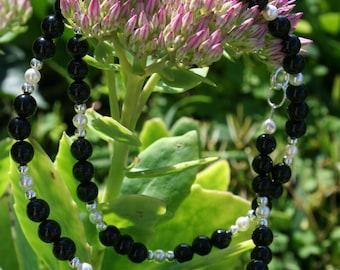 Black Onyx and Swarovski Pearl Necklace in Silver
