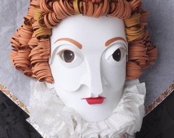 Postcard of original paper sculpture 'Elizabeth I'