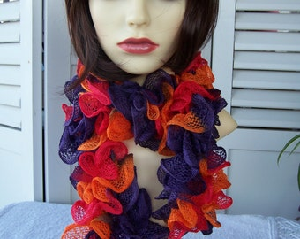 Hand Knitted Red, Orange And Purple Ballerina Frilly Scarf - Free Shipping