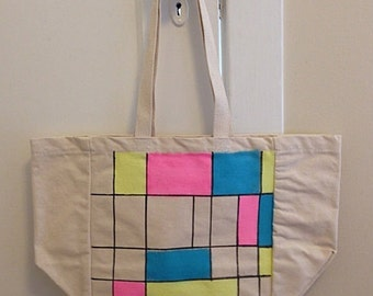 Neon Mondrian-style canvas tote bag