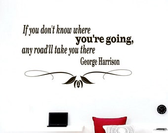 Wall Vinyl Decals Quote Decal If you don't know where you're going Sayings Sticker Decals Wall Decor Murals Z8