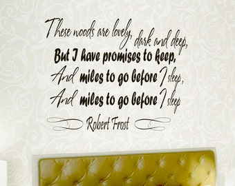 Wall Vinyl Decals Quote Decal These woods are lovely, dark and deep Robert Frost  Sayings Sticker Decals Wall Decor Murals Z23