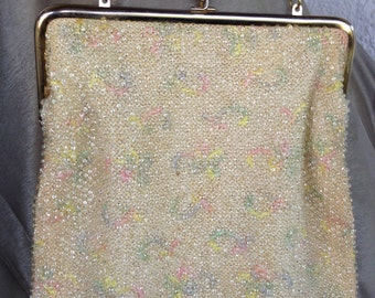 Vintage Corde beaded  bag cream with pastel embroidery and clear beading