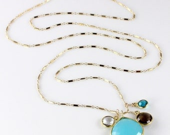 Blue Chalcedony Pendant Charm Necklace with Gemstones