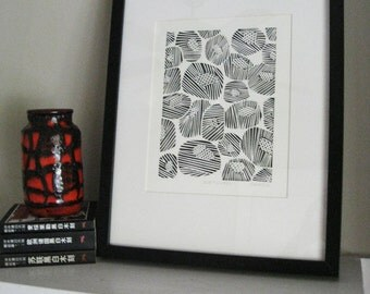 "MOD FLOWERS - Lino Print - Abstract Flower Design - Black & White Print 8x10"" - Ready to Ship"