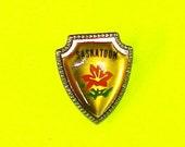 Saskatoon Tiger Lily Provincial Flower Saskatchewan Canada Kitsch Lapel Souvenir Badge Vintage Enamel Bubble Pin