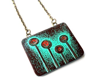 Turquoise and Rust Red Tree Necklace, Rustic Modern Tree Necklace, Lollipop Tree Pendant, Forest Pendant, Distressed Tree Jewelry, Wife Gift